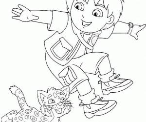 coloriage Diego à la jungle