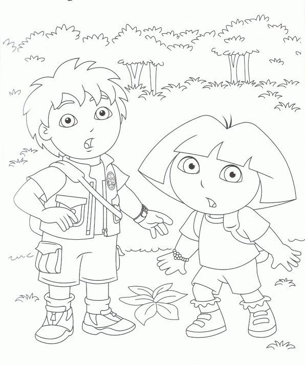 Coloriage Diego Et Dora Gratuit A Imprimer