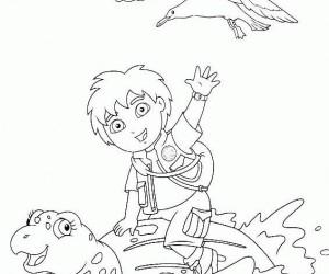 coloriage Diego et son amie la tortue