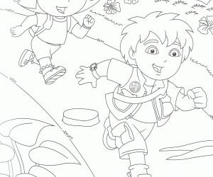 coloriage Diego joue avec dora
