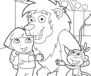 coloriage Dora au cirque