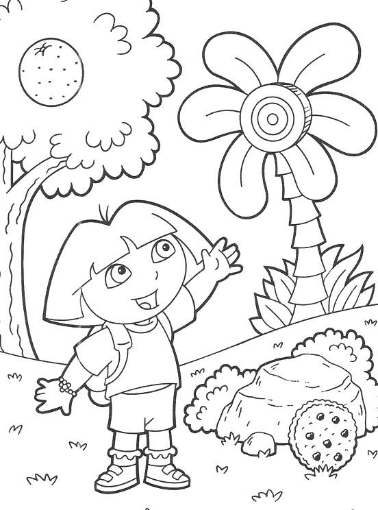 coloriage Dora au pays du bonbon pour enfants