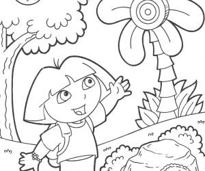 coloriage Dora au pays du bonbon