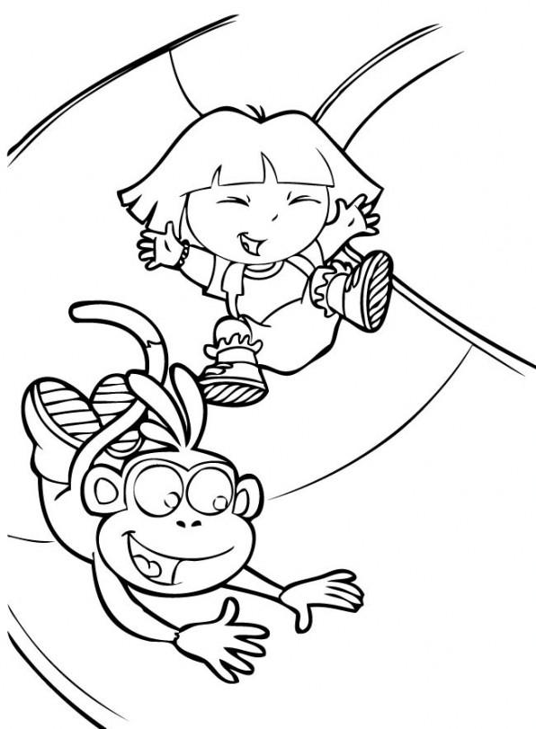 coloriage Dora dans le toboggan pour enfants