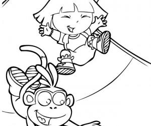 coloriage Dora dans le toboggan