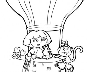 coloriage Dora en montgolfiere