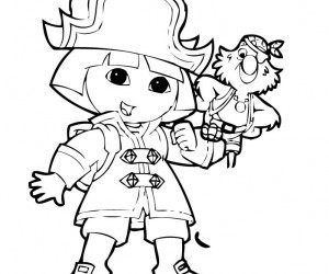 coloriage Dora en pirate