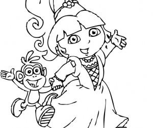 coloriage Dora en princesse