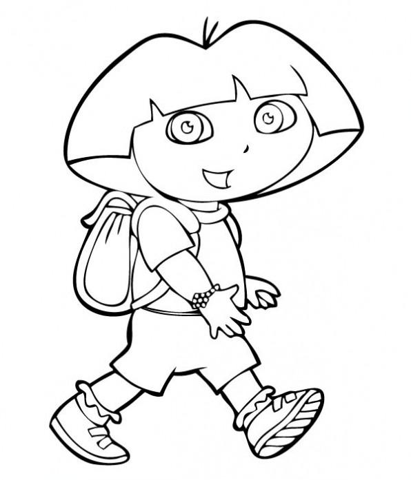 coloriage Dora en promenade pour enfants
