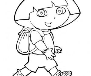 coloriage Dora en promenade