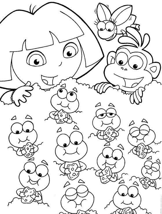 Coloriage Dora Et Les Chenilles Gratuit A Imprimer