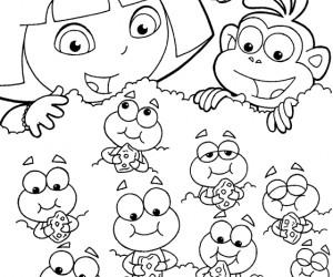 coloriage Dora et les chenilles