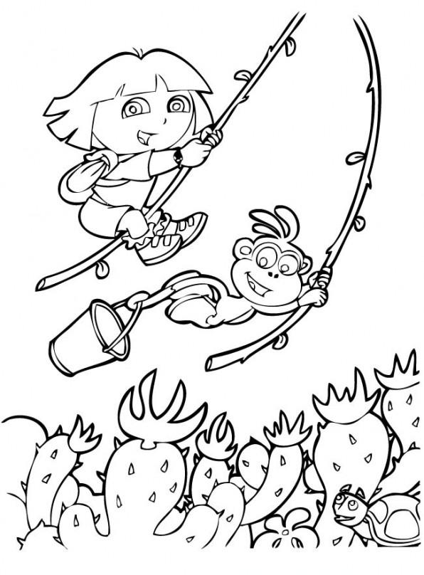 coloriage Dora joue à tarzan pour enfants