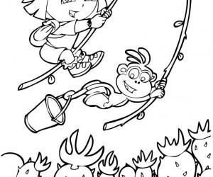 coloriage Dora joue à tarzan